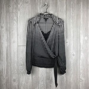 WHBM Black White Polka Dot Wrap LS Shirt XXS